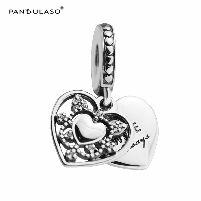 Pandulaso My Wife Always Clear CZ Heart Charms for Jewelry Making Fit Silver 925 Original Bracelets DIY Sterling Silver Jewelry все цены