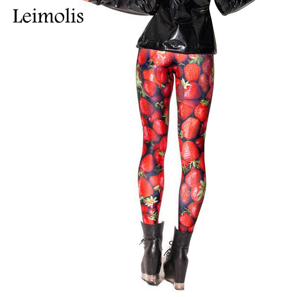 Leimolis 3D Printed Fitness Push Up Workout Leggings Women Gothic Fruit Strawberry Plus Size High Waist Punk Rock Pants