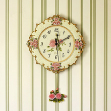 European  Resin Pastoral quartz clock Mute style wall clock fashion carving rose flower  wall clock