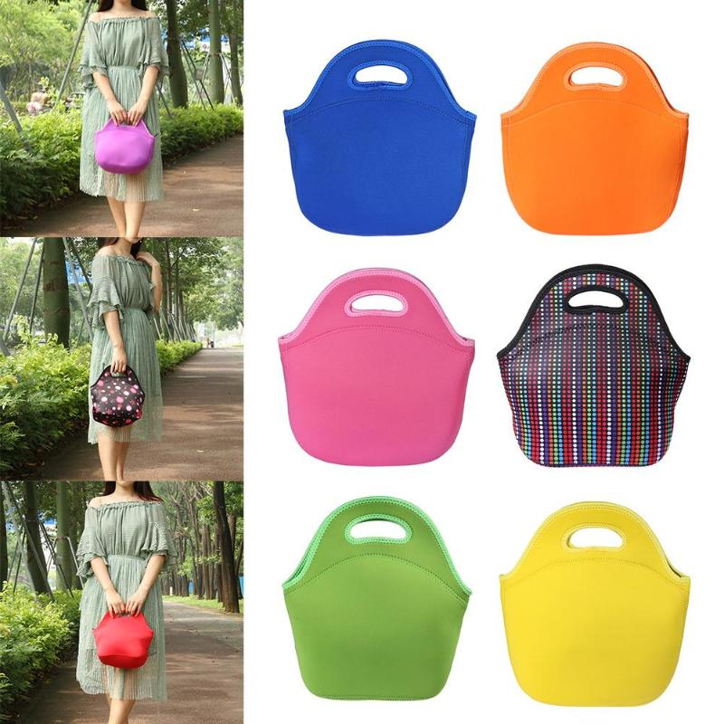 9 style Thermal Insulation Neoprene Lunch Box Waterproof Picnic Food Bag Tableware Lunch Bag Lunch Bags 2 Persons Food Thermal
