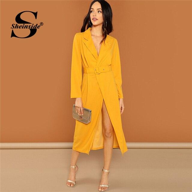 comprar online 92beb 4d53d Vestido elegante con cuello entallado y cintura cinturón para mujer  vestidos largos de fiesta primavera 2019 vestido