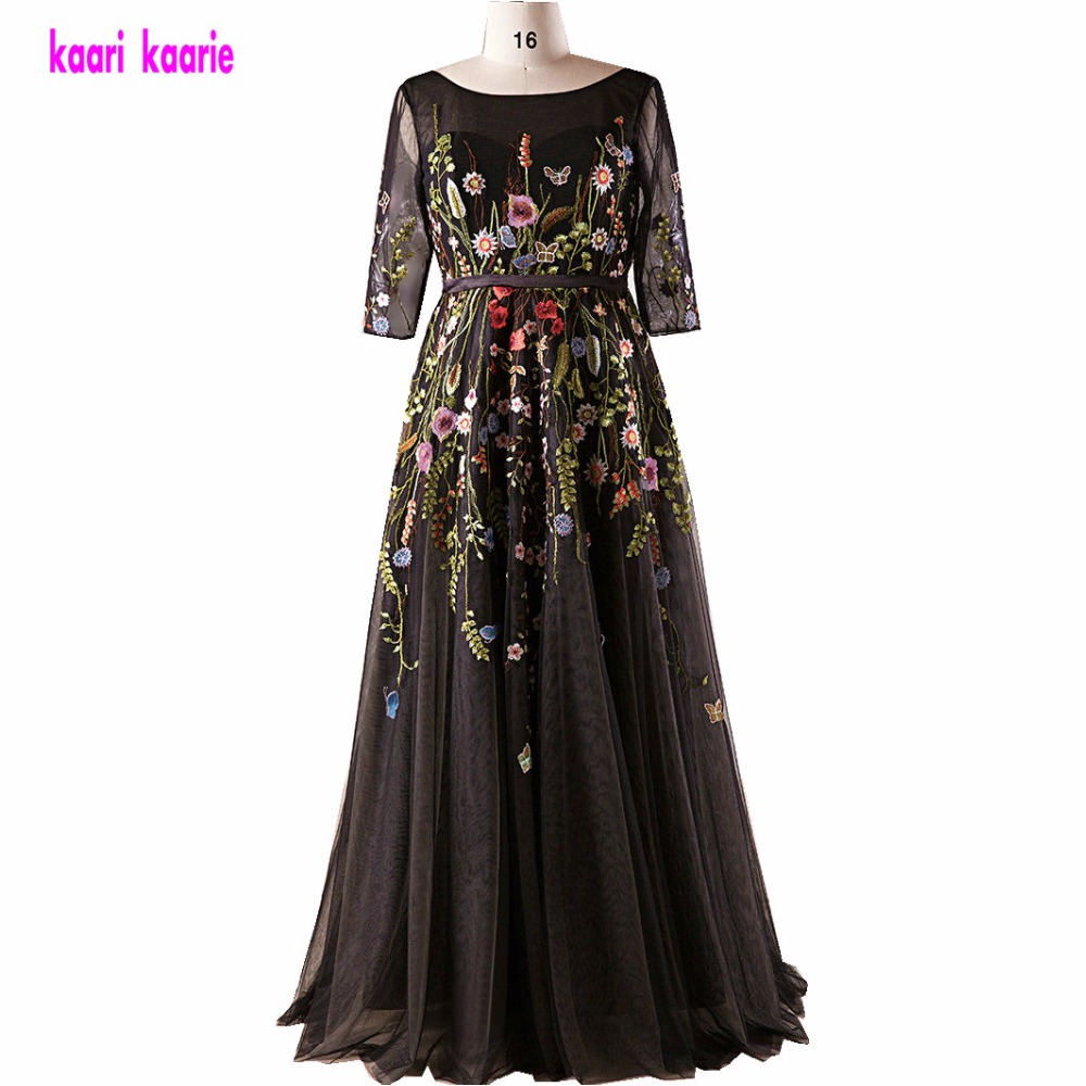 Elegant Black Plus Size   Evening     Dresses   Long 2019 Scoop Half Sleeve Embroidery   Evening   Party Gowns woman Formal   Evening     Dress