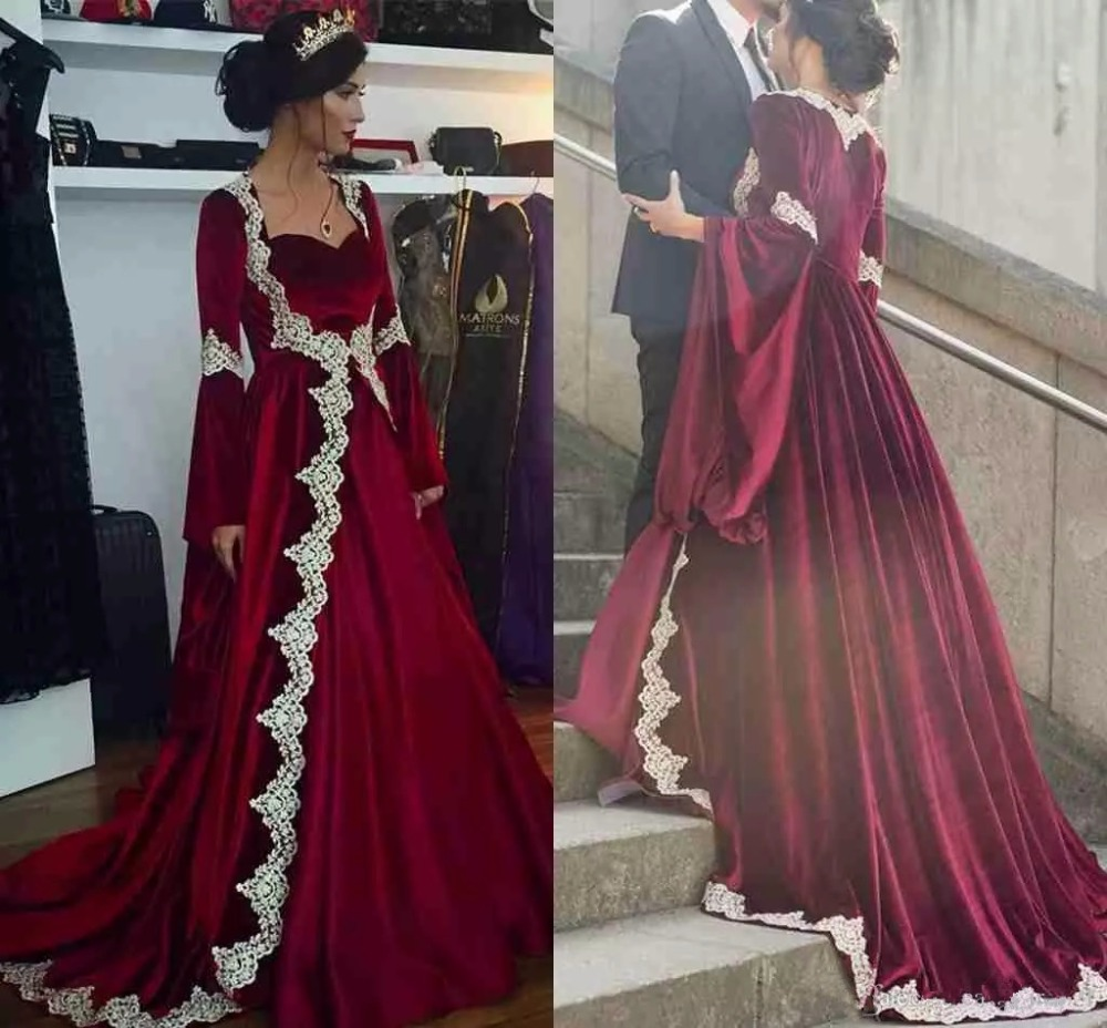 new Arabic Dubai Long Sleeves Kaftan Evening Dresses 2019 Hot Burgundy Velvet With Appliques Long Vintage Muslim Party Gowns