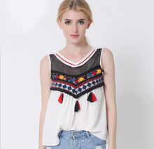 Newest Vintage Embroidered Vest Jacket Women Round Neck Colorful Tassel Sleeveless Camisole Vest Tops Bustier Crop Top