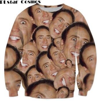 sweatshirt Fashion tracksuit Nicolas cage Crazy funny Stare at you print 3d sweatshirt men/women top size S-5XL Drop shipping animal print drop shoulder sweatshirt
