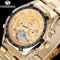 Forsining luxo homens mecânicos turbilhão relógios banda de aço inoxidável moda masculina esqueleto auto data relógios reloj hombre
