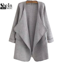 SheIn Korean Style Designers Casual Spring Female High Street Vogue New Arrivals Plain Long Sleeve Stitch Pocket Loose Cardigan