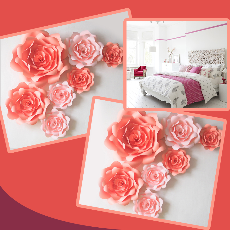 Us 33 53 39 Off Diy Artificial Flowers Fleurs Artificielles Backdrop Giant Paper Flowers Rose 6pcs For Wedding Party Decoration Bedroom Decor In