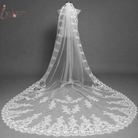Voile Marriage One Layer Long Wedding Bridal Veil With Comb Lace Edge Cathedral Length White Ivory Wedding Accessories Applique