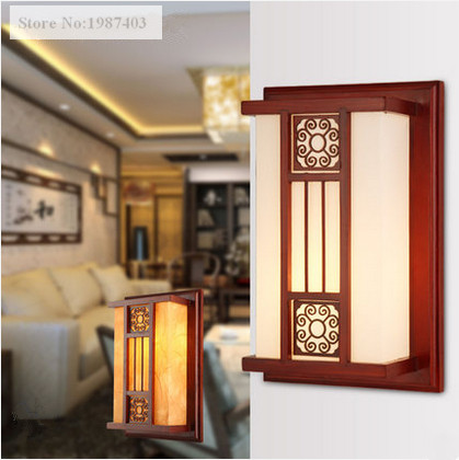 Chinese retro brown carved wood frame wall lamps Antique white&yellow parchment E27 LED lamp for porch&stairs&pavilion XDBD001 001 mystery brown