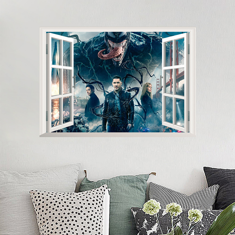 100% Quality 3d Venom Wall Stickers Home Decor Removable Fake Window Living Room Wall Mural Drip-Dry
