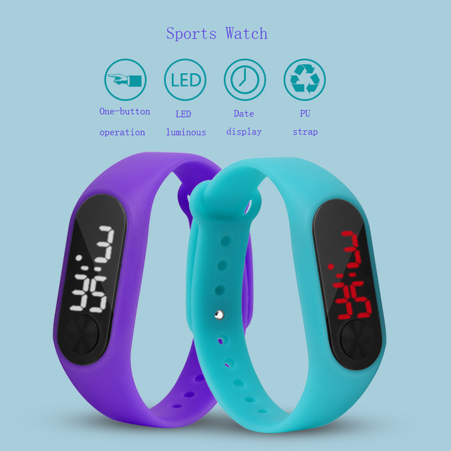 Детские часы светодиодные спорта дети часы Для мужчин Для женщин PU электронные цифровые часы браслет Наручные часы для мальчиков и девочек Reloj Nino