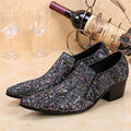 Fashion New Chaussure Homme Slip On Leather Glitter Party Flats Men Shoes Pointed Toe Italian Colours Men Wedding Dress Shoes