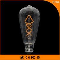 50 шт. E27 B22 Светодиодные лампы Ретро Винтаж Эдисон, ST64 4 Вт накаливания светодиодные Стекло свет лампы, теплый белый Энергосберегающая Лампы д