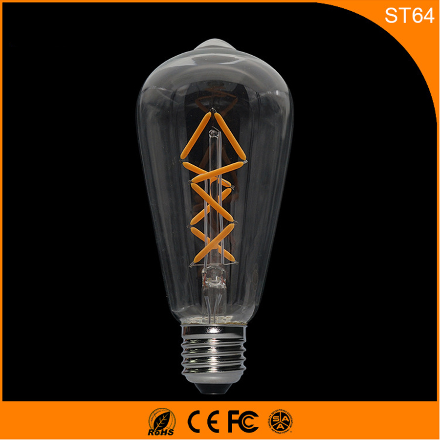 50PCS E27 B22 LED Bulb Retro Vintage Edison ,ST64 4W Led Filament Glass Light Lamp, Warm White Energy Saving Lamps Light AC220V e27 4w 65 led 420 lumen 6500k white energy saving led light bulb 220v