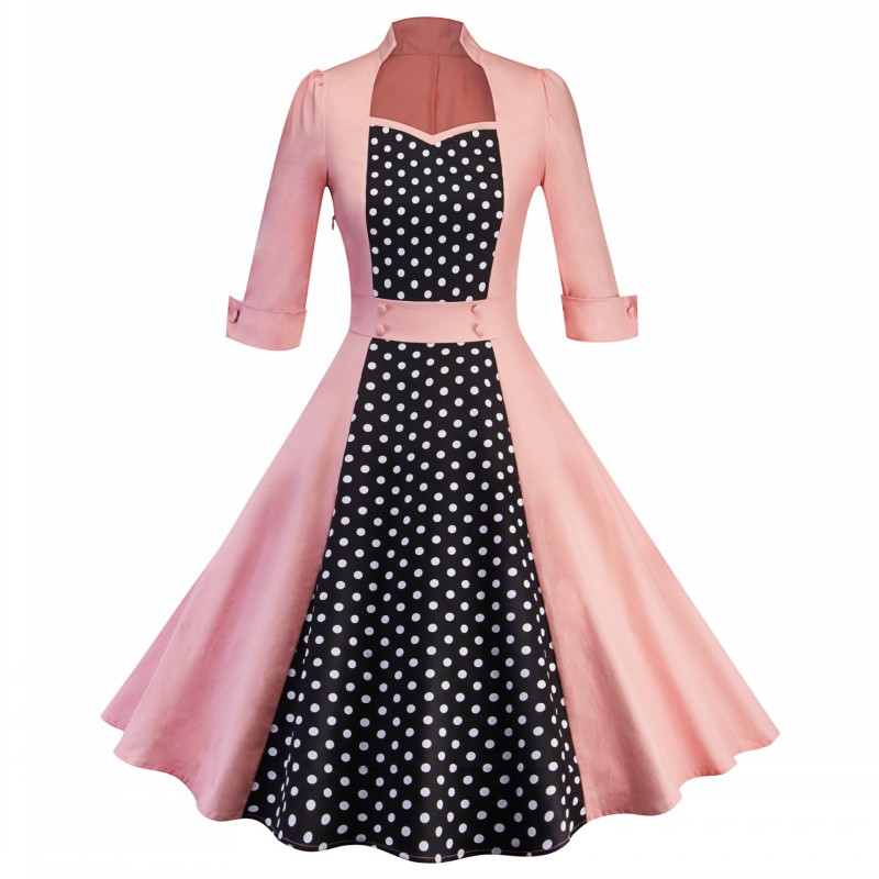 9057290141_274015360_conew1  2018 Ladies Clothes Pin UP Vestidos Spring Autumn Retro Informal Celebration Gown Rockabilly Gown 50s 60s Classic Midi Attire HTB1HRlBAb9YBuNjy0Fgq6AxcXXar