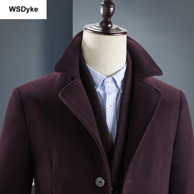 2018 New Medium Long Thick Detachable Liner Men Wool Coat High Quality Turn Down Collar Casacos Masculino 3