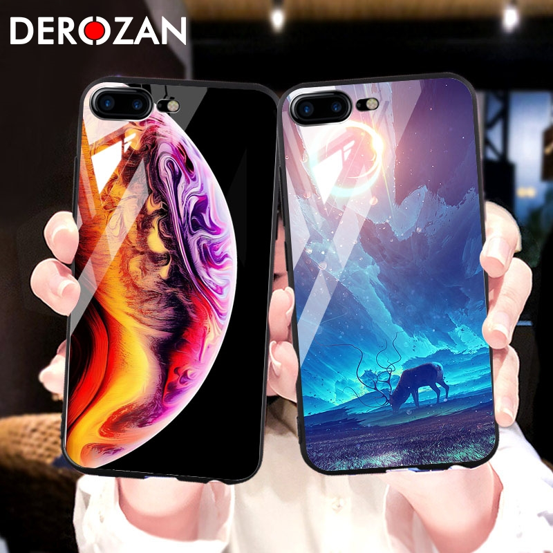 DEROZAN Phone Case For Apple iPhone 7 Plus Case 6S X Tempered Glass Glossy Back Cover iPhone XS 6 Painted Protective Glass Shell