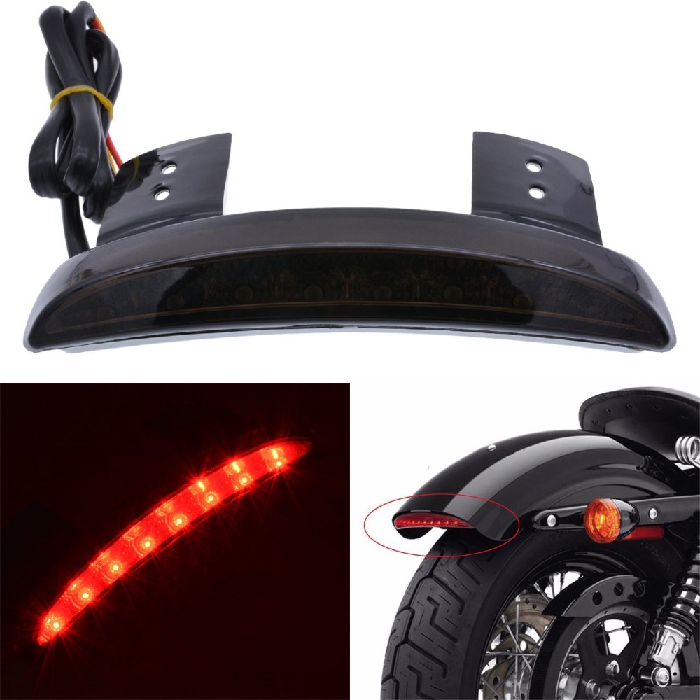 Red/Smoked Lens Rear Stop LED Tail Light Brake For Motorcycle Bobber Chopper Cafe Racer