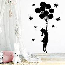 Cartoon girl Wall Stickers Creative Decor For Kids Rooms Bedroom Decoration Decal Sticker Mural