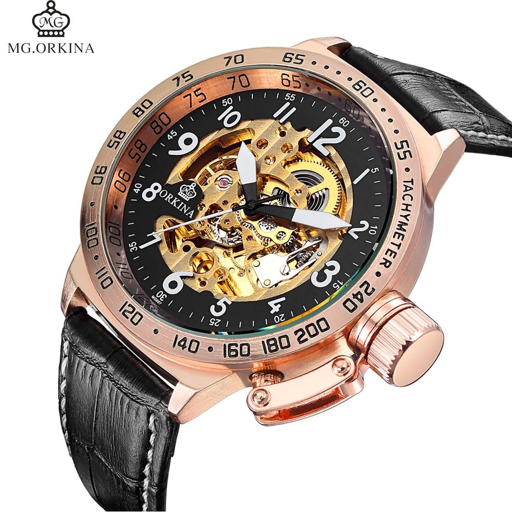 27eedf4c1a5 Grande Cara Relógios Famosa Marca de Luxo ORKINA Relógio Mecânico Automático  dos homens Relógios Militares Esqueleto Relogio masculino em Relógios  mecânicos ...