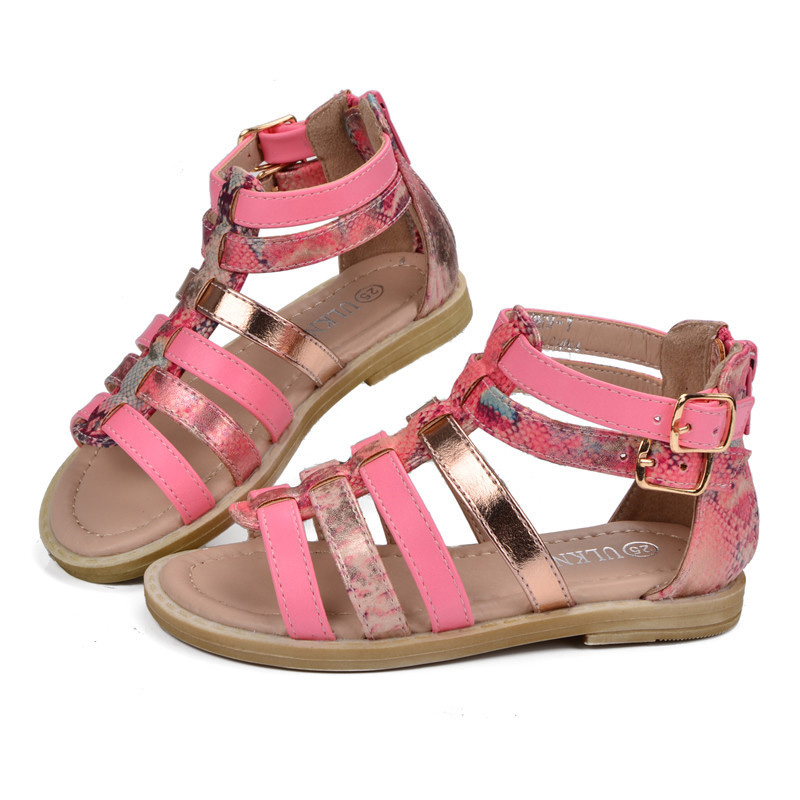 Mudipanda Girls Roman Gladiator Beach Sandals Children Shoes Summer 2020 Kids Princess Shoes Student Flat Buckle Beach Sandals