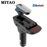 Detachable Bluetooth Headset Wireless FM Transmitter Bluetooth Car Kit Handsfree MP3 Player Dual USB Quick Charger Radio Adapter