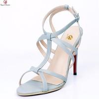 Ursprüngliche Absicht Neue Populäre Frauen Sandalen Mode Offene spitze Dünne High Heels Sandalen Licht Grau Schuhe Frau Plus UNS Größe 4-20