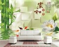 Beibehang Custom Silk Cloth Ultra HD Wall Paper House And Fugu Bamboo Lotus Small Fish 3D