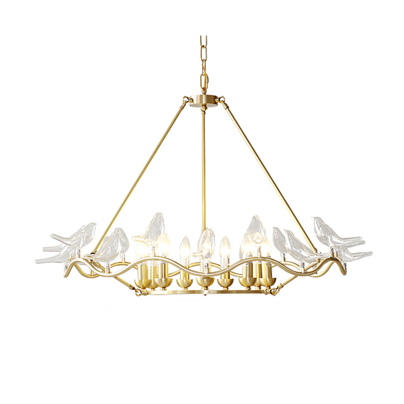 Replica Item Country Style Elegance Serpentine Dove Chandelier with Blown Glass Birds Lustre free shipping