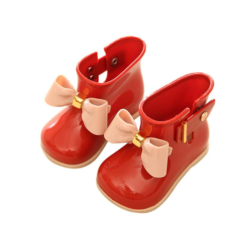 Arloneet Waterproof Rain Shoes Cute Baby Jelly Shoes Girl Shoes Children Bow Rain Boot L0817 #2
