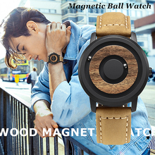 EUTOUR Magnetic Watch Men Luxury Ball Quartz Wood Dial Scaleless Leather Fashion Waterproof Mens Couple Watches