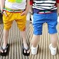 Sl-45, Verão casual crianças meninos shorts, Calças de meia, Cor sólida, Sarja de algodão