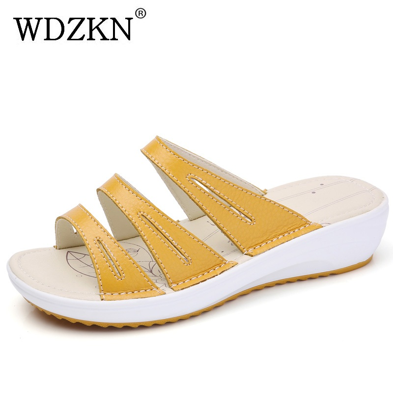 WDZKN New Summer Slippers Women Sandals 2018 Genuine Leather Outside Slip On Low Wedge Slippers Open Toe Casual Shoes Woman mnixuan women slippers sandals summer
