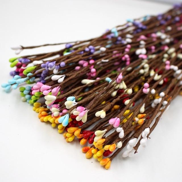 100 Piezas 40 Cm Flores Artificiales Baya Para Bastones Pulsera - Manualidades-con-flores-artificiales