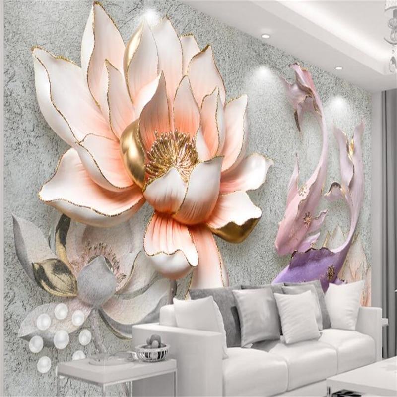 Beibehang Wallpaper For Walls 3 D Custom Wallpaper Roll Embossed Lotus Fish Home Decor TV Background Wallpapers For Living Room