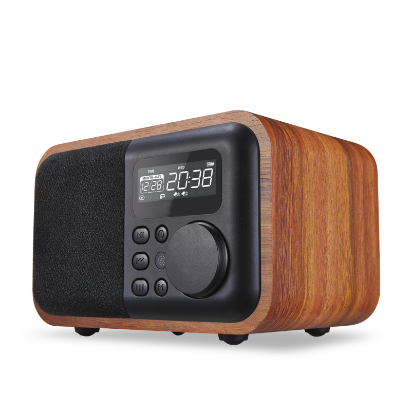 Small Sound Subwoofer Bluetooth Speakers Plug-in Radio Factory Direct Sales New Furniture Wooden Multimedia Mini Alarm Clock