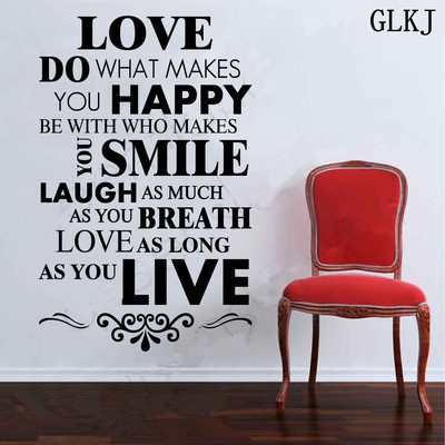 DIY Happy Live Laugh Love Smile Inspirational Quote Wall Art Vinyl Impressive Smile Laugh Love Quotes