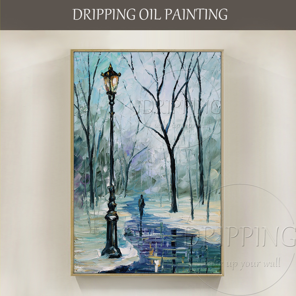 Artist Hand painted High Quality Snow Scenery Oil Painting on Canvas Special Lonely Road Walker and Street Light Oil Painting