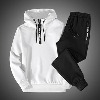 2019 2PC Hoodies Men Spring Autumn Fleece Liner Hooded Sweatshirts + Sweatpants Male Brand Streetwear Solid Warm 2 Pieces Hoody