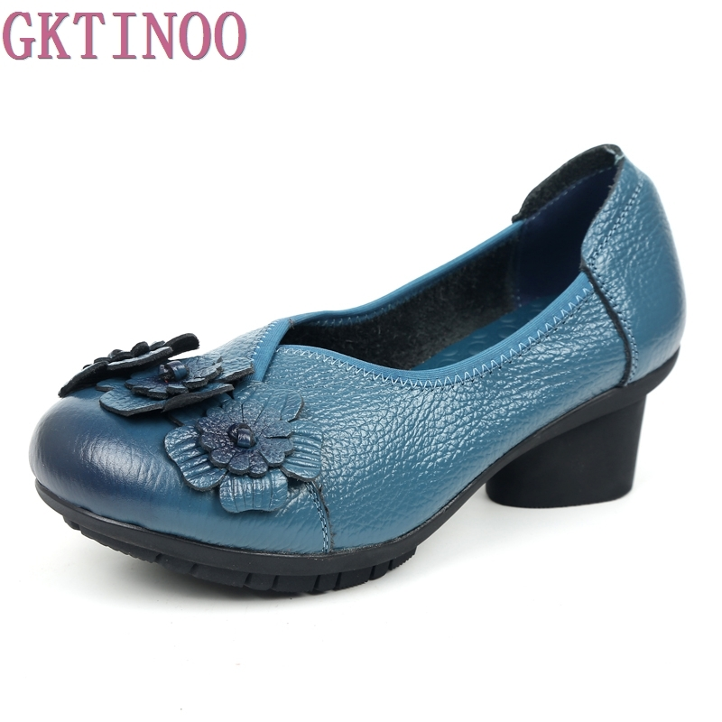 2017 Spring Women Shoes Genuine Leather Women Pumps Handmade Flower Comfortable Vintage Style High Heels netcat