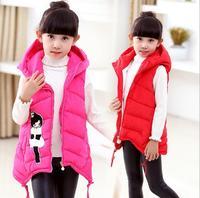 Winter Children Girls Vest Fashion Outerwear&Coats Cartoon Girls Vest Hooded Kids Jackets Autumn Baby Girl Waistcoat