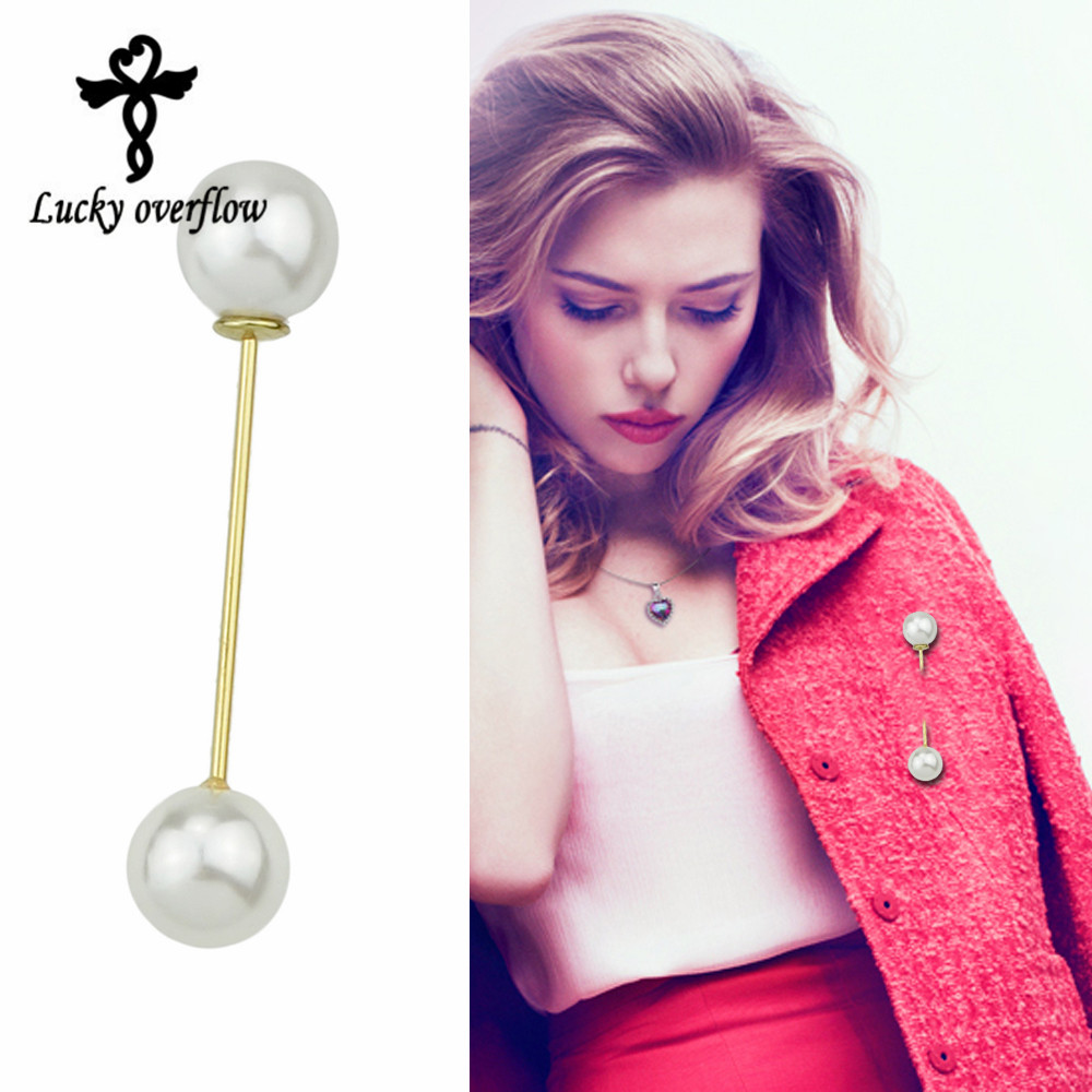 2018 Hot sale High Quality Vintage Style Plated Clear Double head Imitation Pearl Big Brooch Wedding Anti-Light Valentine Gift