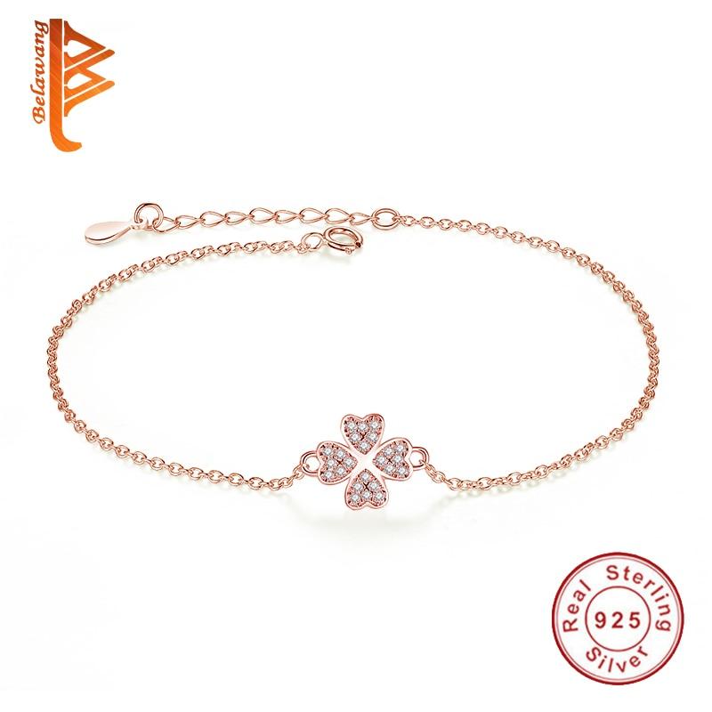 Fashion Original 925 sterling silver armband Rose Gold Four Leaf - Fina smycken
