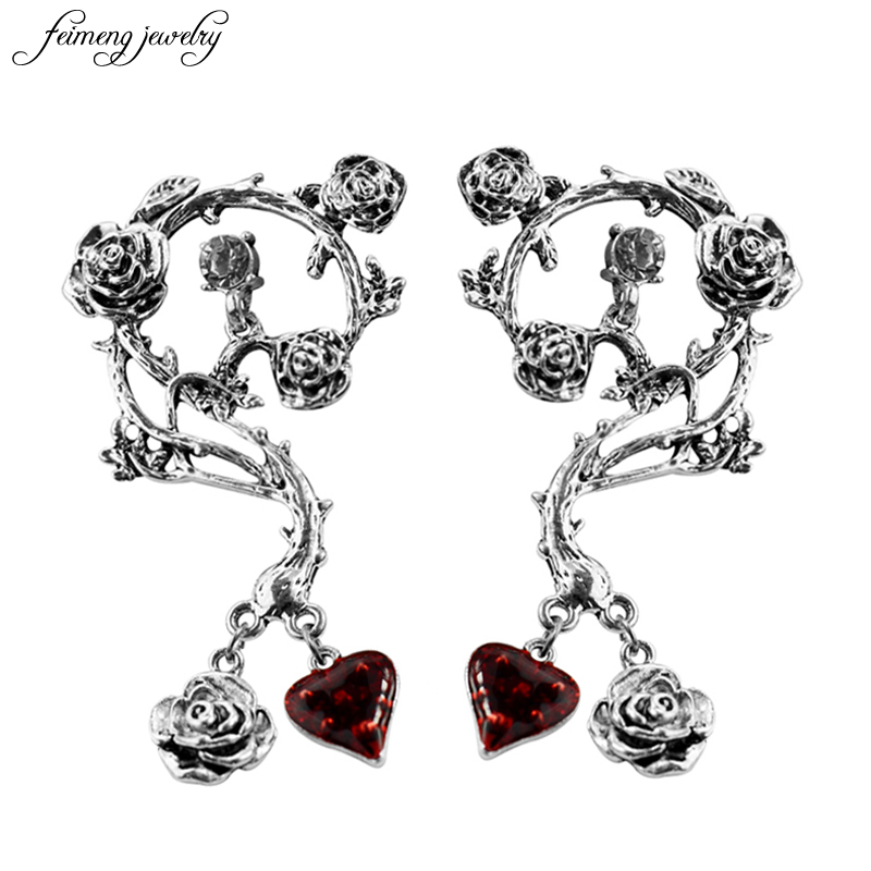 Retro Silver Rose Earrings High Quality Peach Heart Red Earrings Female Fashion Earrings Womens Wedding Jewelery 1 pair