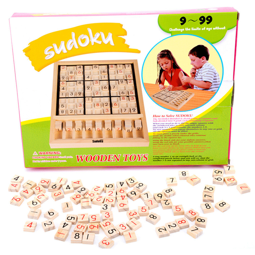 Fából készült sudoku oktatási sakk játék gyerekek kirakós játék játékok