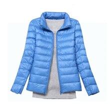 2017 fashion women keep warm Super light thin 90% White duck down jacket/femininity Stand collar Large size coat