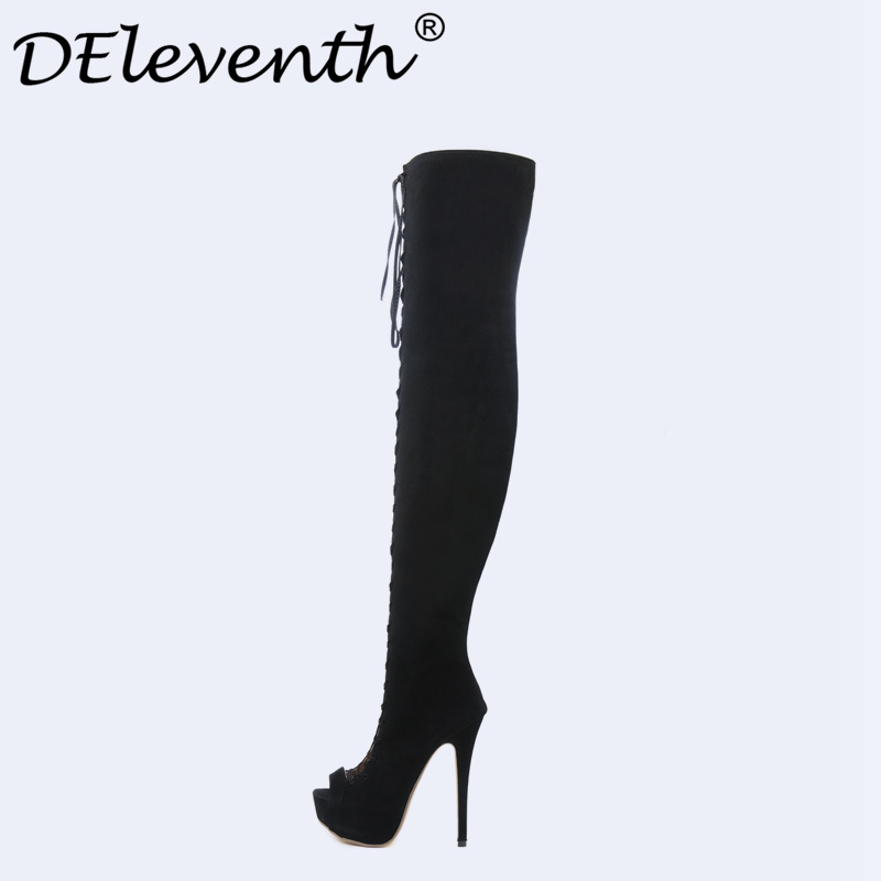 Women Thigh High Boots Over The Knee Boots Platform Cut-outs Cross-starp High Heels shoesPeep Toe Female Woman Shoes Botas Mujer 2017 women thigh high boots over the knee high heel boots peep toe high heels woman shoes plus size 4 11 botas mujer femininas