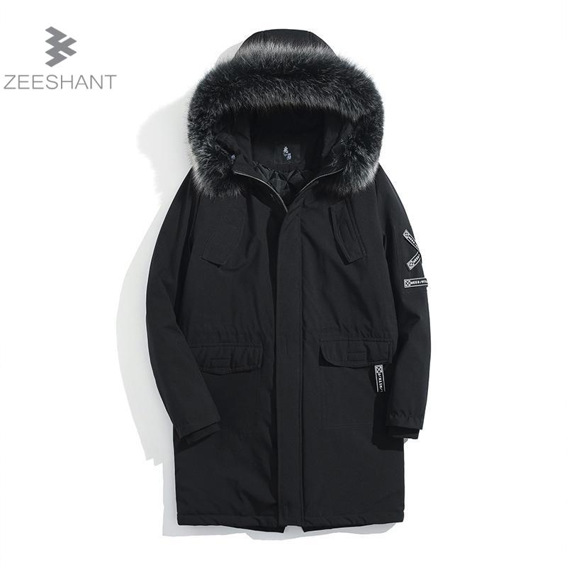 Zeeshant Winter Fur Jacket Men Removable Raccoon Hood Long Parka Mens Casual Jackets and Coats in Men's Parkas XXXL