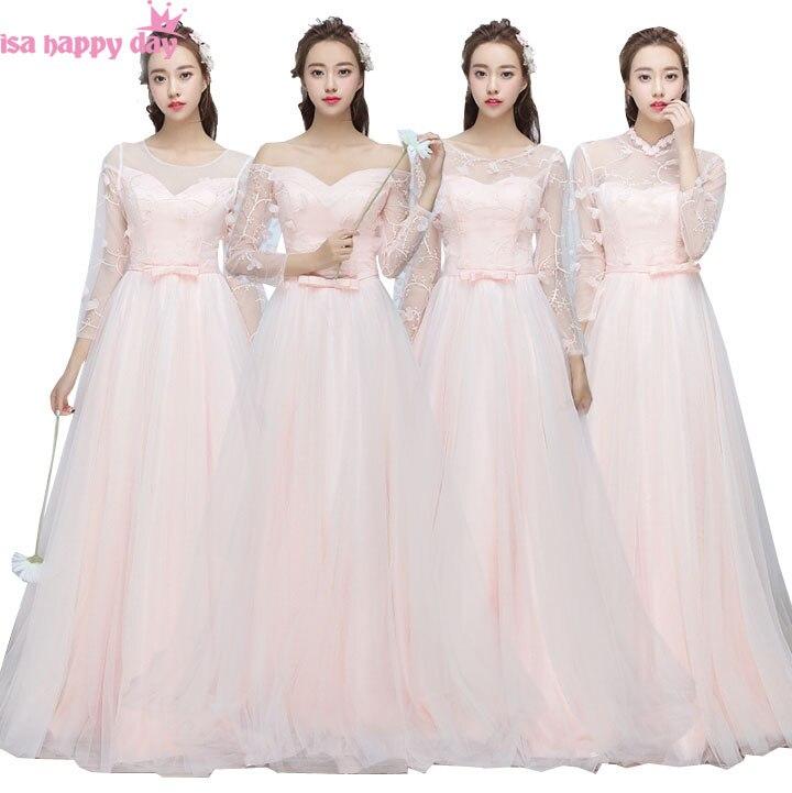 Belles mariées servantes lumière rose robes